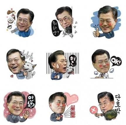 문재인 대통령 공식 블로그에 올라온 `이니티콘`의 모습. [출처=문재인 대통령 공식 블로그 캡쳐]