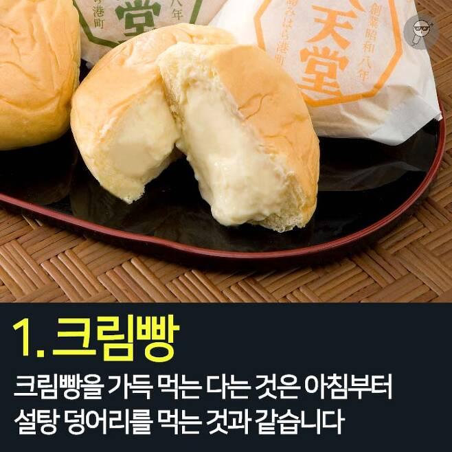 1. 크림빵 2. 흰빵에 마가린 3. 베이컨, 햄, 소시지 4. 과일쥬스 5. 무/저지방 요구르트