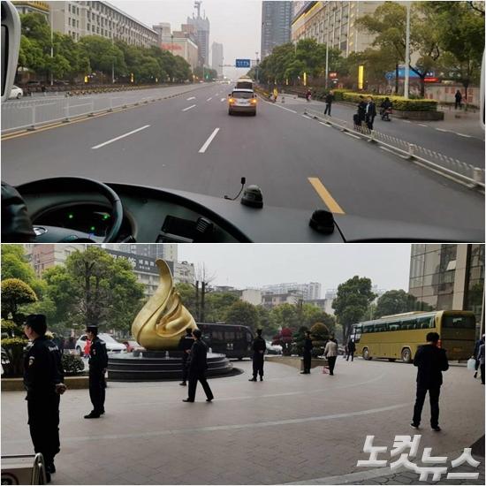 축구대표팀 선수단이 움직이는 중국 창사 시내 도로는 러시아워에도 현지 공안에 의해 철저하게 통제될 뿐 아니라 선수단이 묵는 숙소는 항시 삼엄한 경비가 계속되고 있다. 창사(중국)=오해원기자