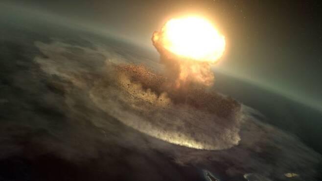 6600만년 전 유카탄반도의 운석 충돌 장면 상상도. 출처: BBC