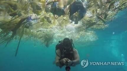발리 인근 바다 표면을 뒤덮은 플라스틱 쓰레기. [스킨스쿠버 전문가인 리치 호너 페이스북=연합뉴스]