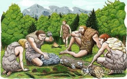 네안데르탈인이 버섯을 먹는 모습을 표현한 그림 [Abel Grau/CSIC Communication 제공=연합뉴스]