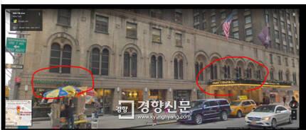방석호 사장이 2015년5월 뉴욕출장중 머물던 센트럴 호텔과 그 호텔 내부에 위치한 스타벅스. 방 전 사장 아들이 이 스타벅스에서 신용카드를 사용한 사실이 드러났음에도 방 전 사장은 가족들은 다른 숙소에서 머물렀다고 주장하고 있다.