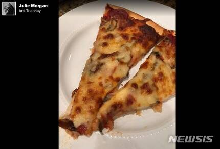 【로스앤젤레스=뉴시스】 줄리 모건이 페이스북에 올린 감동의 피자 사진. <사진=줄리 모건 페이스북 /> 2018.10.22