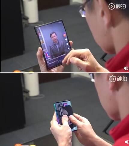 샤오미가 공개한 '더블 폴더블폰' 위가 펼쳤을 때 모습, 아래가 접었을 때의 모습. [린빈 총재 웨이보 동영상 캡처]