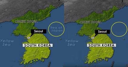 미 CBS 선데이 모닝이 동해를 일본해로 표기했던 지도에서 '일본해'를 삭제해 유튜브에 다시 올렸다. 왼쪽부터 21일 올라온 지도와 23일 수정된 지도. [CBS 선데이 모닝 유튜브 캡처]