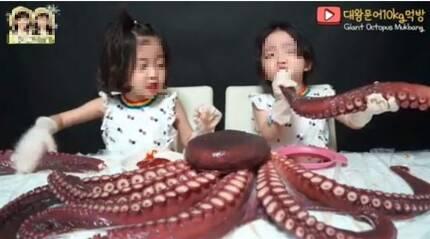 국내 유명 키즈유튜브 채널에서 지난달 1일 게시했던 6살 쌍둥이 여아의 대왕문어 '먹방' 영상. 인터넷캡처.