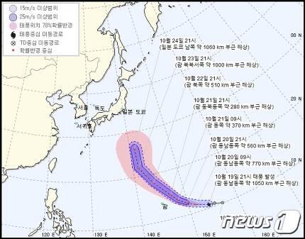 제21호 태풍 부알로이(기상청 제공)© 뉴스1