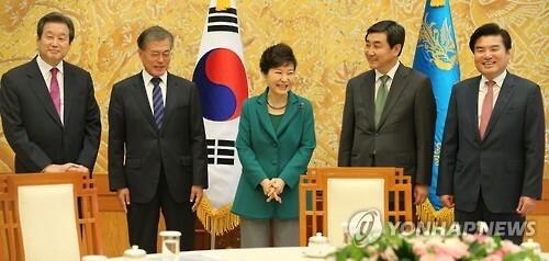 어제 오후 3시 청와대에서 박근혜 대통령과 새누리당 김무성 대표 원유철 원내대표, 새정치민주연합 문재인 대표 이종걸 원내대표가 회동했다.