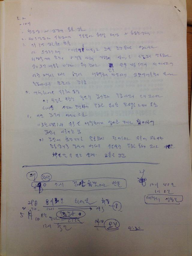 13일 양길승 녹색병원 이사장이 <한겨레>에 공개한 1991년 5월2일 강경대 열사를 검안하고 작성한 메모. 양길승 이사장 제공