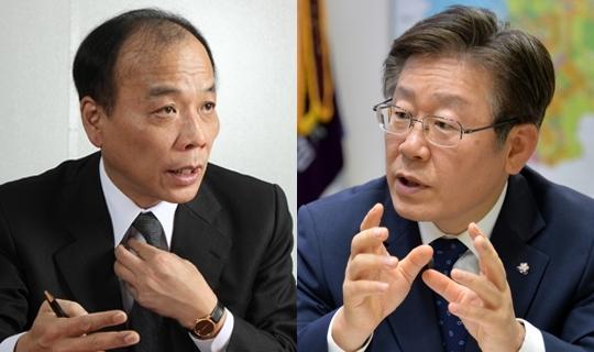 전원책 변호사(왼쪽)와 이재명 성남시장. [중앙포토]