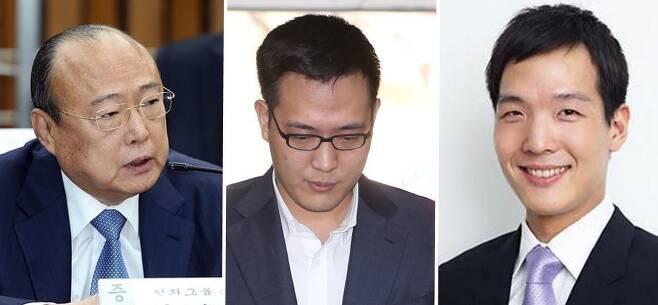 왼쪽부터 한화그룹 김승연 회장, 셋째아들 김동선씨, 둘째아들 김동원씨