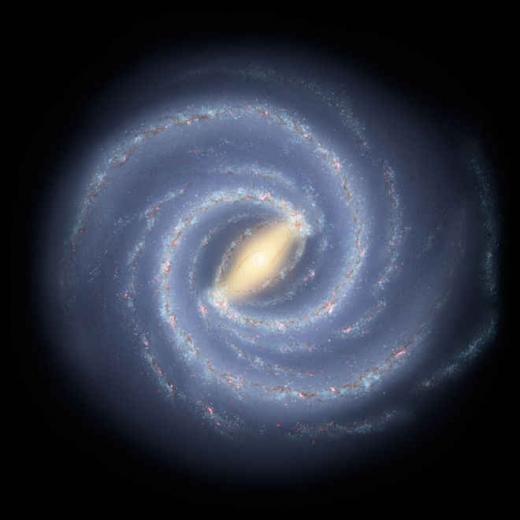 위에서 본 우리은하 상상도. 천문학자들은 우리은하의 수천억 개 별들과 우리 인체의 원소들을 조사해 주요 원소량에 대한 지도를 만들었다.(사진=NASA/JPL-Caltech)