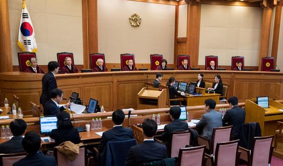 16일 서울 종로구 헌법재판소 대심판정에서 열린 박 대통령 탄핵심판 14차 변론 모습./ 사진=뉴스1
