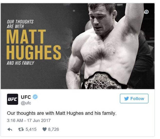 열차 충돌 사고로 잃은 의식을 이틀 째인 18일(현지시간)까지 차리지 못하고 있는 맷 휴즈.UFC 공식 트위터 갭처