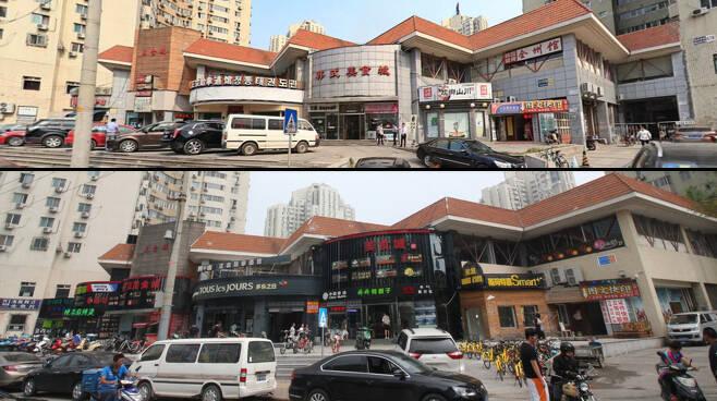 베이징 한국인 밀집 거주지역 왕징의 '한국성'으로 불리는 건물에는 한국 식당과 태권도 학원, 휴대전화 가게 등이 모여 있어, 한국인들이 자주 이용하는 곳이다. 간판을 정비하면서 큰 글씨는 모두 중국어로 대체됐다. 이 건물의 다른 이름인 '한식 미식성' 간판은 사드 배치에 대한 중국의 거셌던 지난 2월 '한식'이란 단어를 떼어내 '미식성'이라는 이름만 남았다. 베이징/김외현 특파원 oscar@hani.co.kr