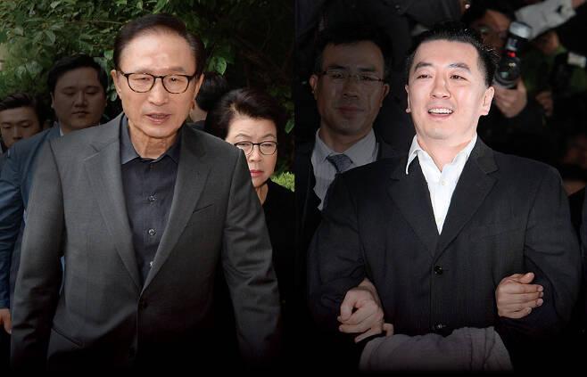 ⓒ시사IN 윤무영 이명박 전 대통령(왼쪽)은 김경준씨(오른쪽)가 설립한 BBK의 회장 명함을 뿌리며 투자금을 유치하고 언론 인터뷰를 했다.