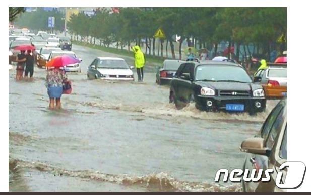 폭우가 강타한 중국 북동부 지린성 [출처=NTDTV]© News1