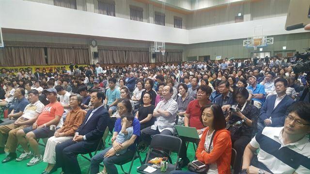 5일 서울 강서구 탑산초에서 강서지역 특수학교 설립을 위한 교육감과 주민 간 2차토론회가 열리고 있다. 신지후 기자