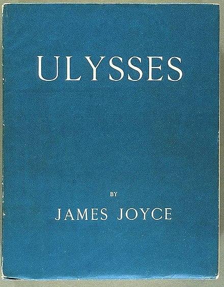 """제임스 조이스의 대표작 <율리시스> 초판 표지. <율리시스>의 마지막 페이지엔 """"Trieste-Z?rich-Paris 1914-1921""""이라는 언명이 나와 있다. 위키피디아"""