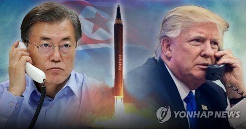 文대통령·트럼프 통화, 북 미사일 대응 협의 (PG) [제작 조혜인] 합성사진/ 사진 출처 EPA