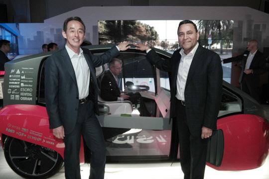 손영권(왼쪽) 삼성전자 사장과 디네쉬 팔리월 하만 CEO가 지난 1월5일(현지시간) 미국 라스베이거스의 하드락 호텔에 마련한 하만 전시장에서 자율주행용 사용자경험을 구현한 오아시스 콘셉트카를 소개하고 있다. 삼성전자는 지난해 12월 미국 전장전문업체 하만 인수를 공정위에 신고했고, 공정위는 올해 2월 기업결합을 승인했다.  삼성전자 제공