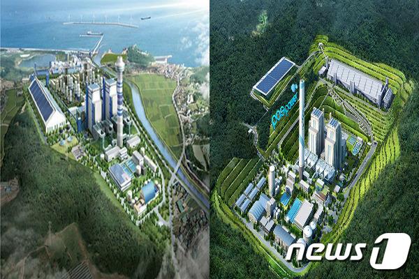 건설 예정인 강릉 안인화력발전소(왼쪽)와 삼척 포스파워 발전소 조감도. /뉴스1DB