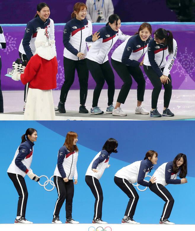 여자 쇼트트랙 3000m 계주 결승에서 금메달을 딴 20일 대표팀 선수들이 시상대에 올라 앞 선수를 밀어주는 세리머니를 하고 있다(위 사진). 메달 수여식이 열린 21일 평창 메달플라자에서 대표팀 선수들이 전날 보여줬던 세리머니를 재현하고 있다. 오종택·우상조 기자
