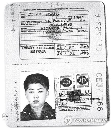 김정은으로 추정되는 사진이 부착된 브라질 여권 사본  [로이터=연합뉴스]