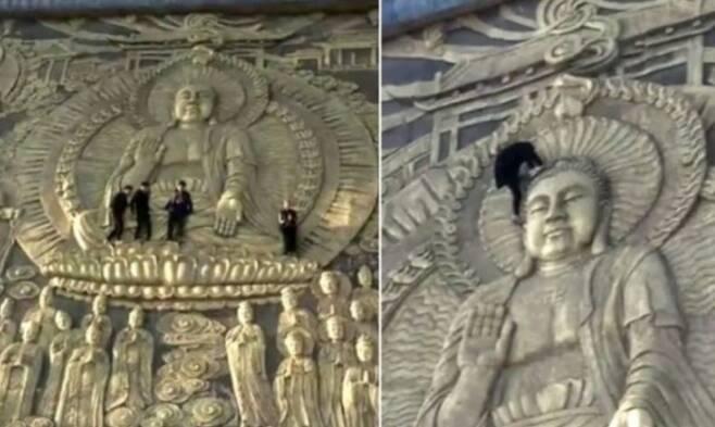 1000년된 사찰 문화재에 겁없이 기어오른 4명의 남성.