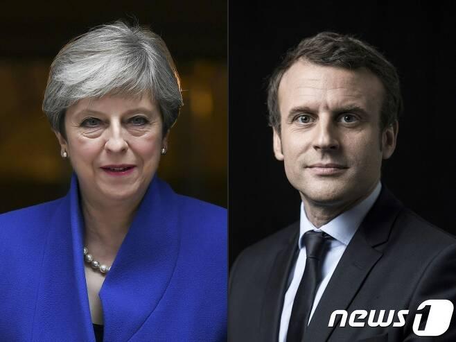 테레사 메이 영국 총리와 에마뉘엘 마크롱 프랑스 대통령. © AFP=뉴스1