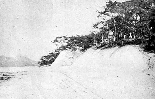 '일한신궁' 터로 지목됐던 서울 안암동 124의 당시 모습. 공사를 위해 깎아낸 언덕 너머로 북한산 모습이 희미하게 보인다. <한겨레> 자료 사진.
