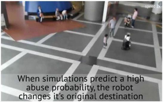 위험 발생이 적은 지역으로 이동하는 로봇 <자료:ATR IRC Laboratories>