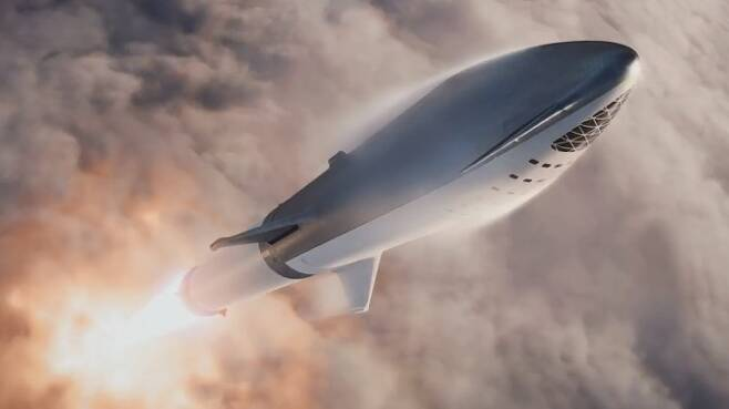 스페이스X가 현재 개발 중인 차세대 초대형 재사용 로켓 '빅 팰컨 헤비로켓(BFR)'의 상상도. - 스페이스X