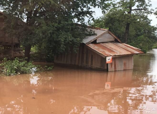라오스 세피안-세남노이 댐 사고 피해 지역(사진=에너지기후정책연구소 이영란 라오재생가능에너지지원센터장 제공)