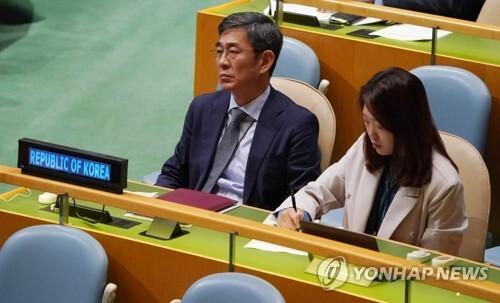 리용호 북한 외무상의 기조연설을 듣는 유엔주재 한국 대표부. [AFP=연합뉴스]