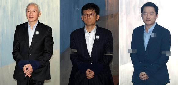 국가정보원에서 수사방해 공작을 벌인 혐의를 받고 있는 남재준 전 국정원장, 장호중 검사장, 이제영 검사(왼쪽부터), 이들은 모두 1심에서 실형을 선고받았다. (사진=연합뉴스)