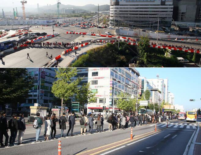 지하철 3호선 대화~구파발 운행 중단 '출근 대란' 지하철 3호선 대화~구파발 구간의 양방향 운행이 중단된 2일 오전 경기 고양시 삼송역 인근 버스정류장에 서울로 출근하려는 시민들이 버스를 타기 위해 길게 줄을 서 있다(위 사진). 3호선 일산 대화역 인근에서도 출근시간에 쫓긴 시민들이 보호봉이 없는 버스전용차로를 따라 서울행 버스 승차 순서를 기다리고 있다. 연합뉴스