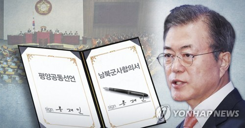 문대통령 평양공동선언·남북군사분야합의서 비준 서명  (PG) [최자윤 제작] 사진합성·일러스트