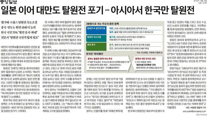▲ 11월27일 중앙일보 12면 '일본 이어 대만도 탈원전 포기… 아시아서 한국만 탈원전'