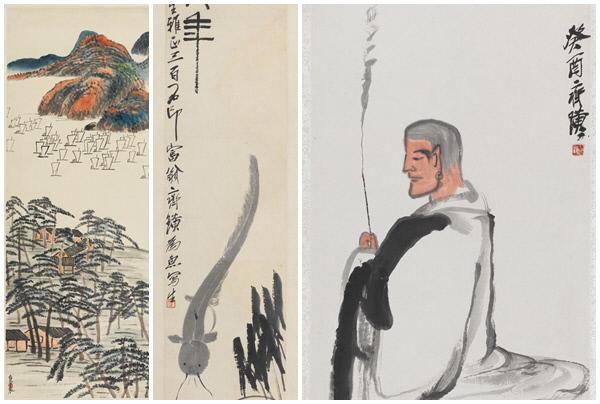 치바이스가 그린 '강위의 범선들' '대년' '분향승'(왼쪽부터)/예술의전당 제공