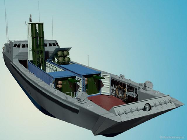소형 선박에 탑재된 클럽 K 시스템. 연안이나 하천에 숨어 발사할 수 있다.