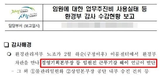 환경공단이 작성한 '환경부 감사 현황' 문서. [사진 강효상 의원실]