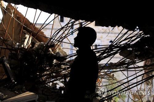 공습을 당한 예멘 사나주의 건물 [EPA=연합뉴스 자료사진]