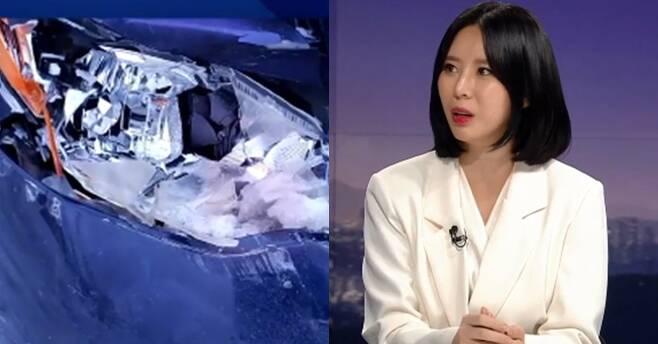 윤지오씨가 11일 JTBC 뉴스룸에 출연했다. 사진 왼쪽은 JTBC가 공개한 교통사고 사진. [사진 JTBC 방송 캡처]
