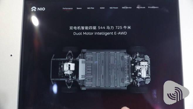 NIO의 ES6 파워트레인 설명, 세계 전기차에서 주로 사용하는 2개의 모터를 활용한 AWD를 구현했다.