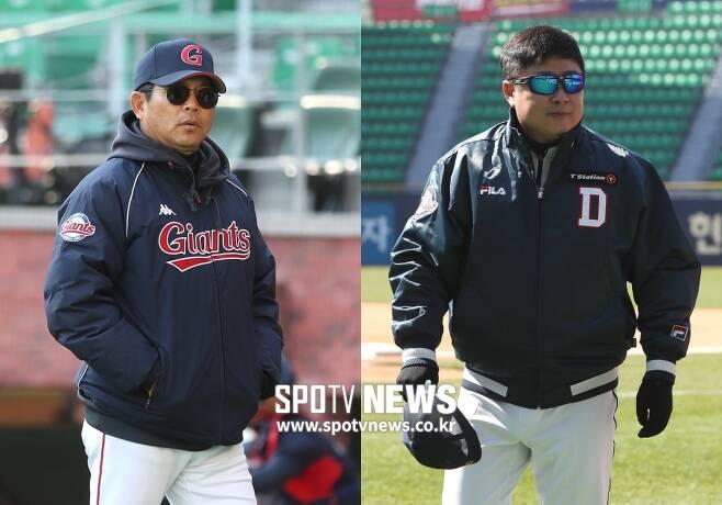 ▲ 양상문 롯데 감독(왼쪽)과 김태형 두산 감독. ⓒ스포티비뉴스 DB
