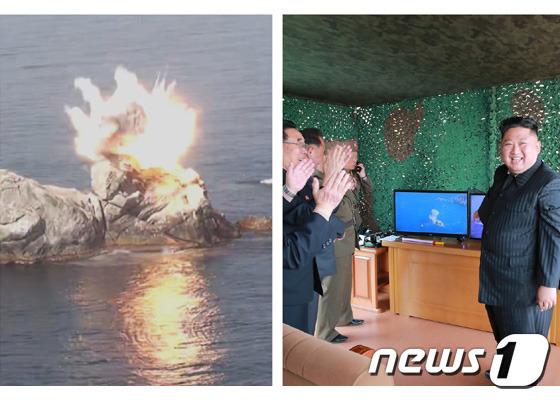 조선중앙통신 등 북한 매체들은 5일 김정은 국무위원장의 참관 아래 전날(4일) 동해상에서 전연(전방) 및 동부전선 방어 부대들의 화력타격훈련을 했다고 보도했다. (사진제공=노동신문) / 2019.5.5 © 뉴스1