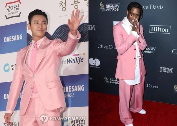 핑크 슈트를 입은 배우 주지훈(왼쪽)과 힙합 가수 에이셉 라키./연합뉴스, 핀터레스트