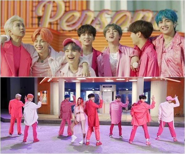 머리부터 발끝까지 핑크 패션을 선보인 방탄소년단 뮤직비디오 '작은 것들을 위한 시'/방탄소년단 페이스북